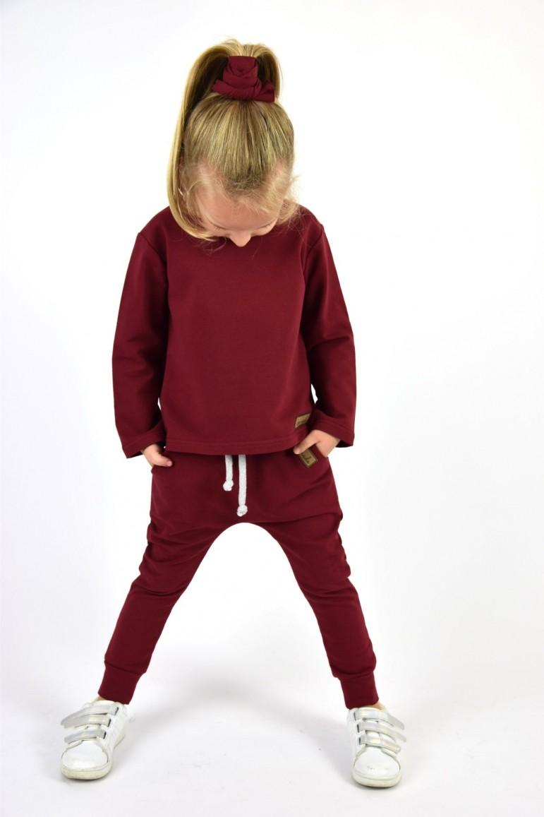 2Spodnie baggy dla chłopca i dziewczynki (unisex) - burgund