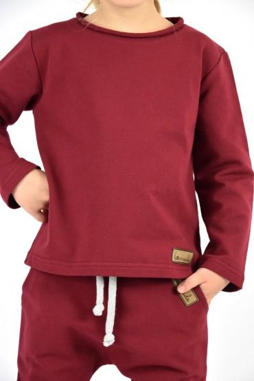 Koszulka z długim rękawem unisex - dla chłopca i dziewczynki - burgund