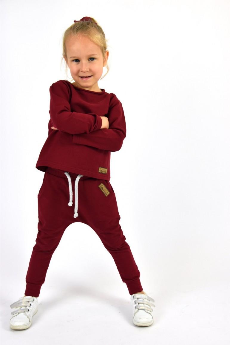 2Koszulka z długim rękawem unisex - dla chłopca i dziewczynki - burgund
