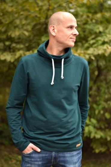 Męska bluza z kominem - butelkowa zieleń