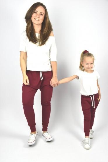 Spodnie dla mamy i córki lub syna - Burgund