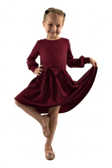 Urokliwa sukienka dziewczęca z kokardą w pasie - burgund