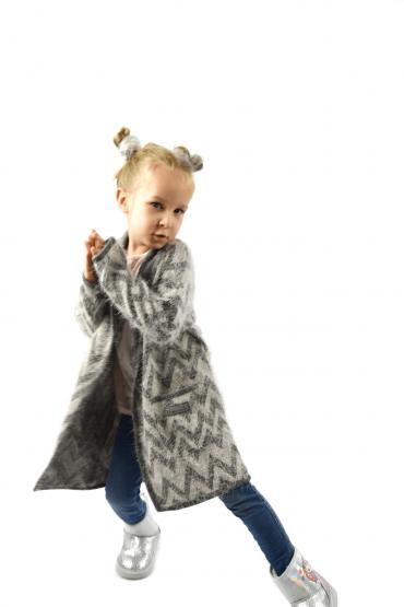 Włochacz - długi kardigan dla dziewczynki z kieszeniami szary