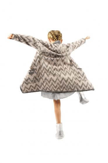 copy of Włochacz - długi kardigan dla dziewczynki z kieszeniami szary