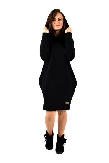 czarna klasyczna sukienka damska z kapturem