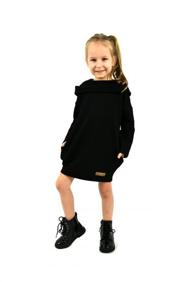 Dresowa sukienko - tunika z kapturem dla dziewczynki -  Black