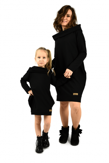 The set of oversized hooded tunics for mother and daughter - Black