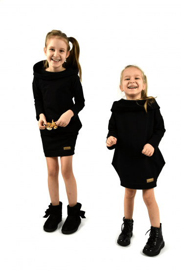 Set of the same hooded tunics for  sisters - Black