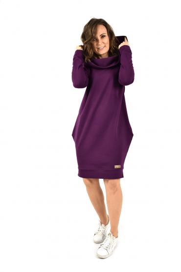Damska tunika, sukienka z kapturem - Ekstrawagancki fiolet