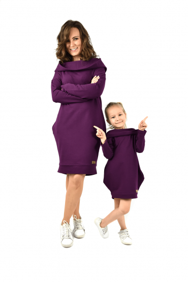 The set of oversized hooded tunics for mother and daughter - extravagant purple