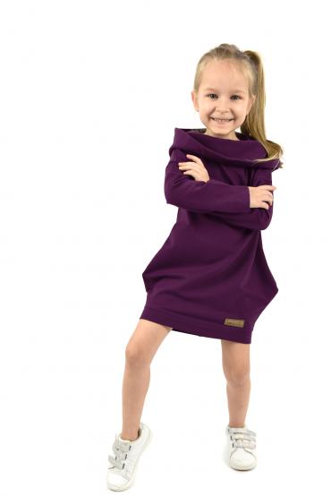 Dresowa sukienko - tunika z kapturem dla dziewczynki - Ekstrawagancki Fiolet