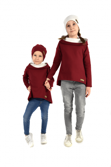 SWEATSHIRTS WITH AN EXTENDED BACK FOR SISTERS - ecru with burgundy
