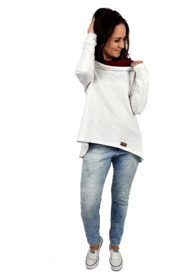 Damska bluza z przedłużonym tyłem - ecru z bordo