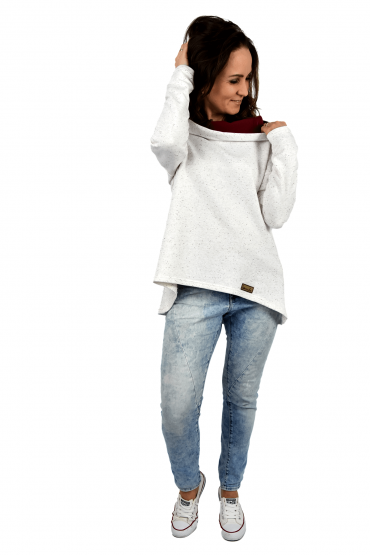 Women's sweatshirt with an extended back - ecru with burgundy