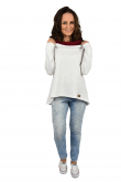 2Women's sweatshirt with an extended back - ecru with burgundy