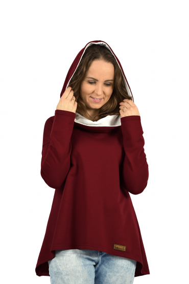Women's sweatshirt with an extended back - burgundy with ecru