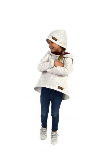 Bluza z przedłużonym tyłem dla dziewczynki - ecru z bordo