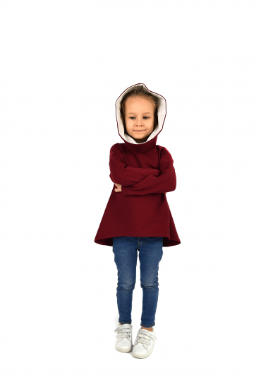 Sweatshirt with an extended back for girls - burgundy with ecru