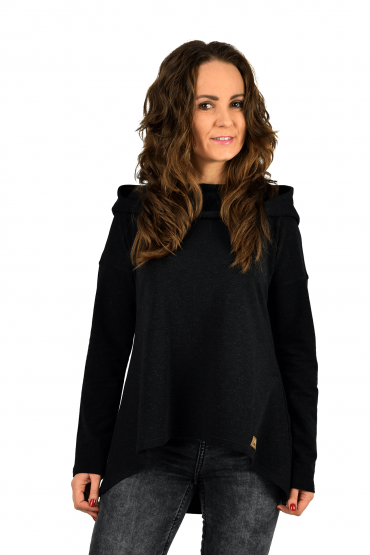 Women's sweatshirt with an extended back - black