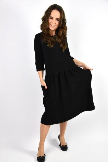 Sukienka damska z dużymi kieszeniami - czarna