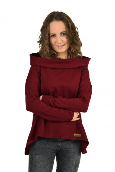 Women's sweatshirt with an extended back - burgundy