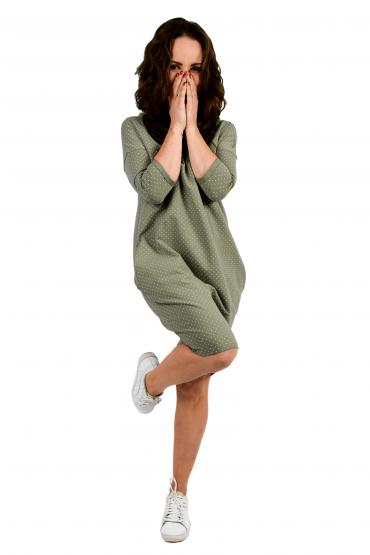 Damska  tuniko- sukienka w kropki - pistacjowo-oliwkowo