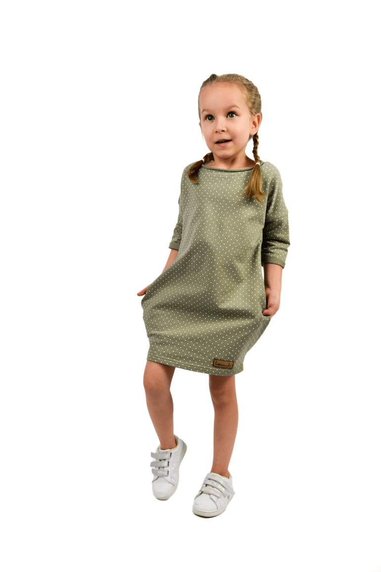 2Dresowa tuniko-sukienka dla dziewczynki  w kropki - pistacjowo-oliwkowo