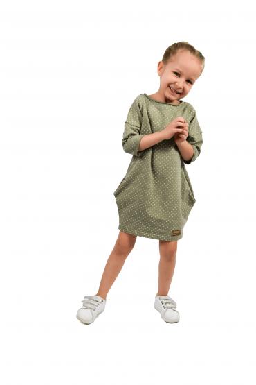 Dresowa tuniko-sukienka dla dziewczynki  w kropki - pistacjowo-oliwkowo