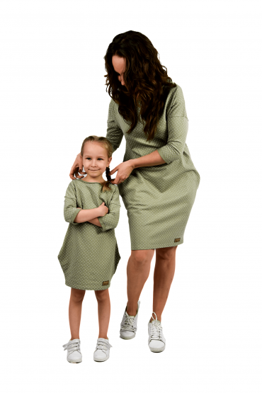 The set of oversized tunic dresses for mother and daughter  - pistachio dots