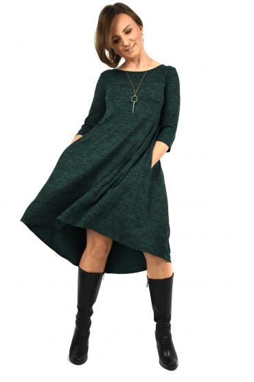Sukienka z przedłużonym tyłem - GREEN & BLACK