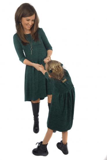 Komplet sukienek dla mamy i córki z przedłużonym tyłem - Green & Black