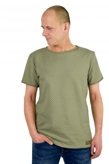 Casualowy T-shirt męski  pistacjowo-oliwkowo  w kropki