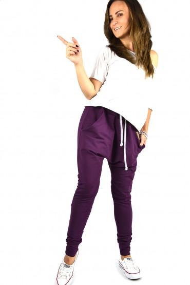 fioletowe spodnie baggy damskie