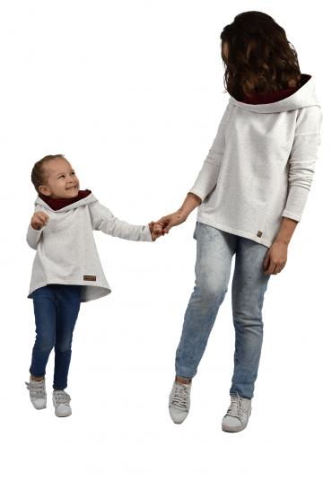 Komplet bluz dla mamy i córki - ecru bordo