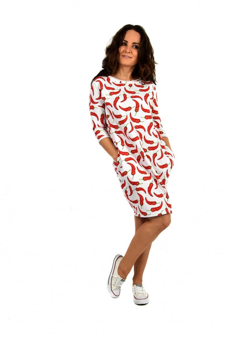 2Dresowa sukienka typu tunika z kieszeniami - CHILLI-OUT