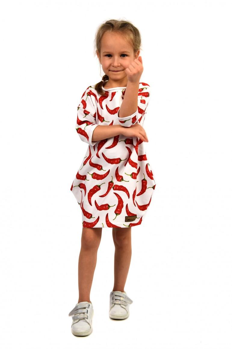 2Dresowa sukienka typu tunika z kieszeniami dla dziewczynki- CHILLI - OUT