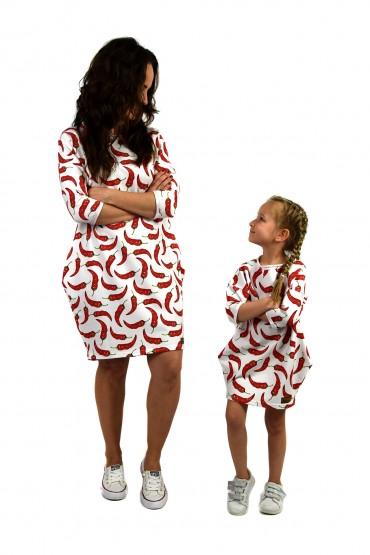 Dresowe sukienki typu tunika dla mamy i córki - CHILLI-OUT