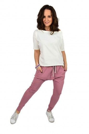 spodnie baggy sportowe pudrowy róż dla kobiety