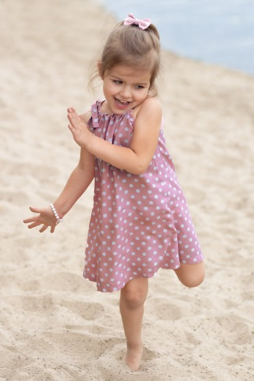 copy of TRAPEZOID PINK POLKA DOT DRESS WITH BINDING