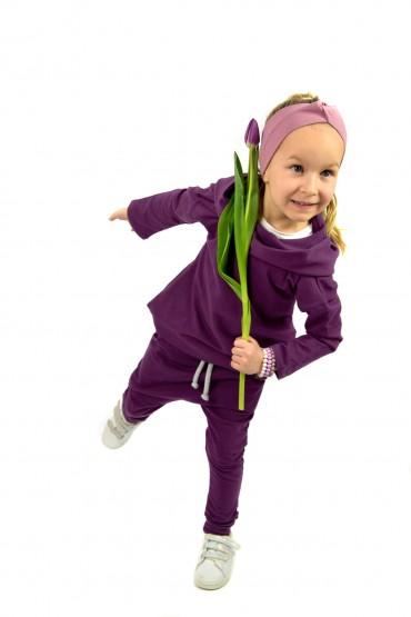 Spodnie baggy dla  dziewczynki - ekstrawagancki fiolet