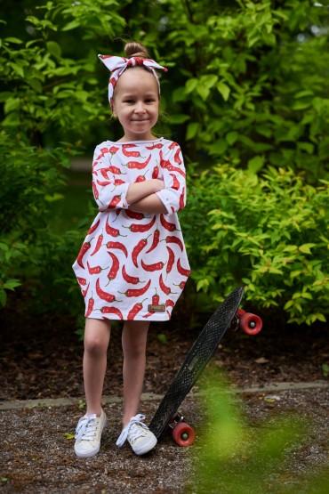 Dresowa sukienka typu tunika z kieszeniami dla dziewczynki- CHILLI - OUT