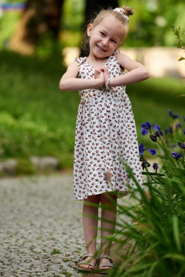 Letnia sukienka dla dziewczynki z wiązanymi ramiączkami - berriers