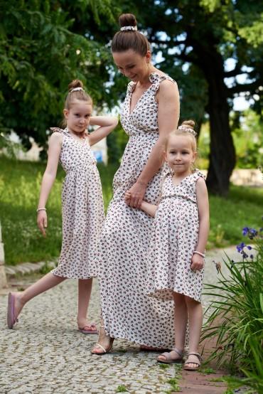 Letnie sukienki dla mamy i córki z wiązanymi ramiączkami - Berries