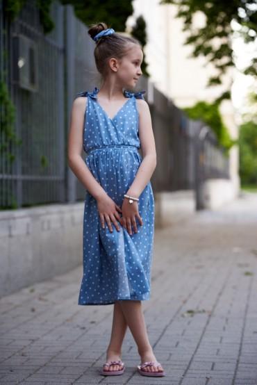Letnia sukienka dla dziewczynki z wiązanymi ramiączkami - Blue Sky