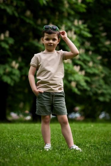 T shirt dla chłopca - beżowy w kropki