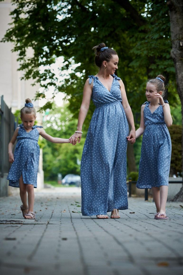 2copy of Letnie sukienki dla mamy i córki z wiązanymi ramiączkami - Berries