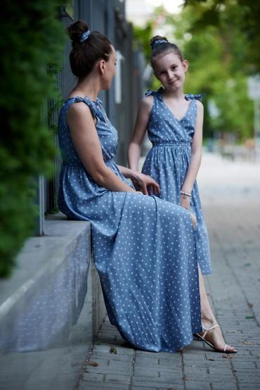 Letnie sukienki dla mamy i córki z wiązanymi ramiączkami - Blue Sky
