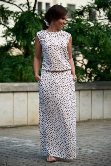 Damska sukienka maxi  z dekoltem na plecach - berries