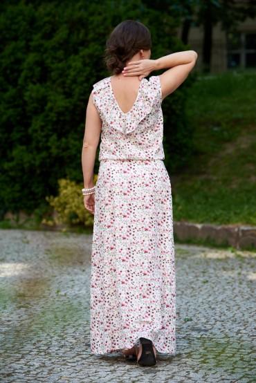 Damska sukienka maxi w kwiaty z dekoltem na plecach - Power of flowers