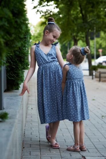 Zestaw letnich sukienek dla dziewczynek z wiązanymi ramiączkami - Blue Sky